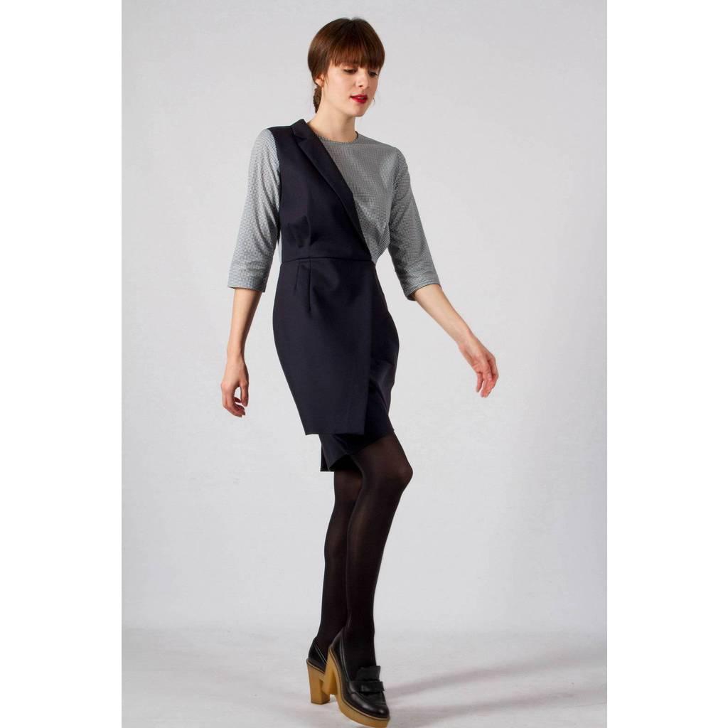 madeva paris robe tailleur andrea bleu marine cr ateur de mode en s rie tr s limit e. Black Bedroom Furniture Sets. Home Design Ideas