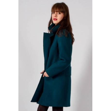 MADEVA Paris : Manteau Noa (bleu canard) Créateur de Mode En série très limitée Fabriqué en France