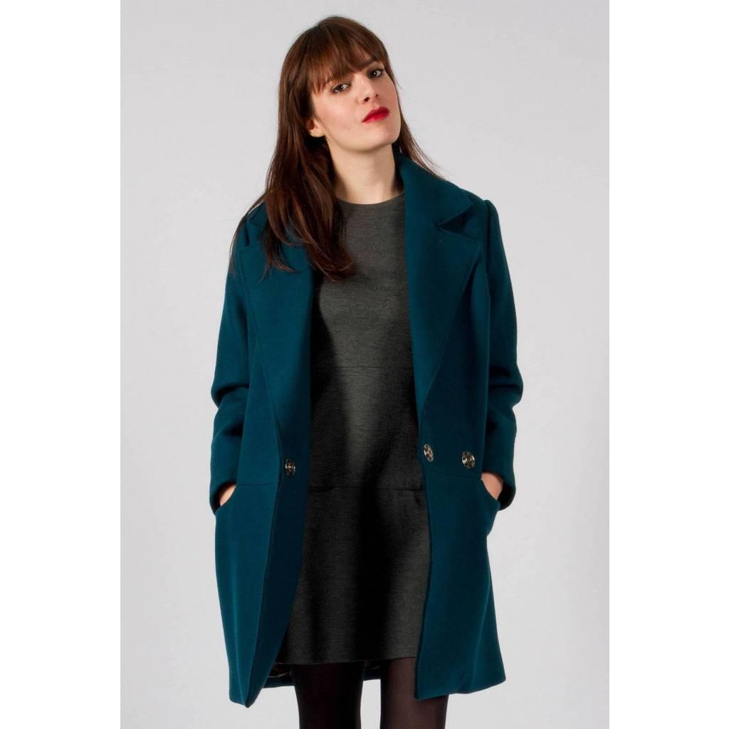 manteau bleu canard femme laine