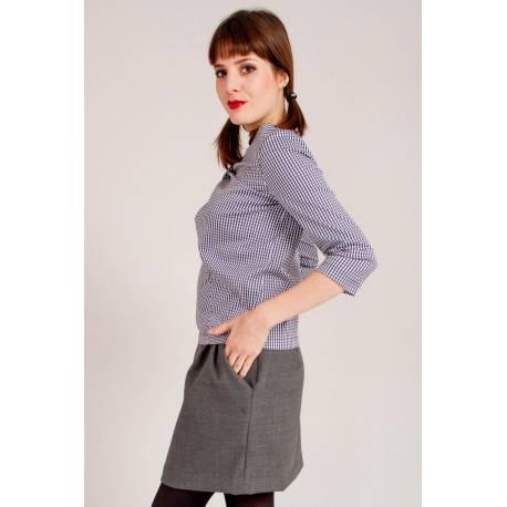 madeva paris jupe irma gris clair cr ateur de mode en s rie tr s limit e cousu. Black Bedroom Furniture Sets. Home Design Ideas