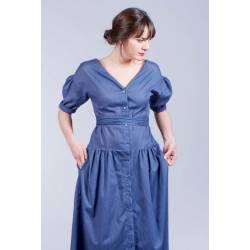 Robe Ilona (bleu rayures) [RECTO-VERSO]
