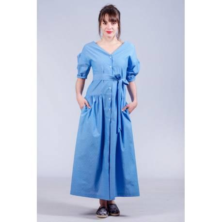 Robe Ilona (bleu pois) [RECTO-VERSO]