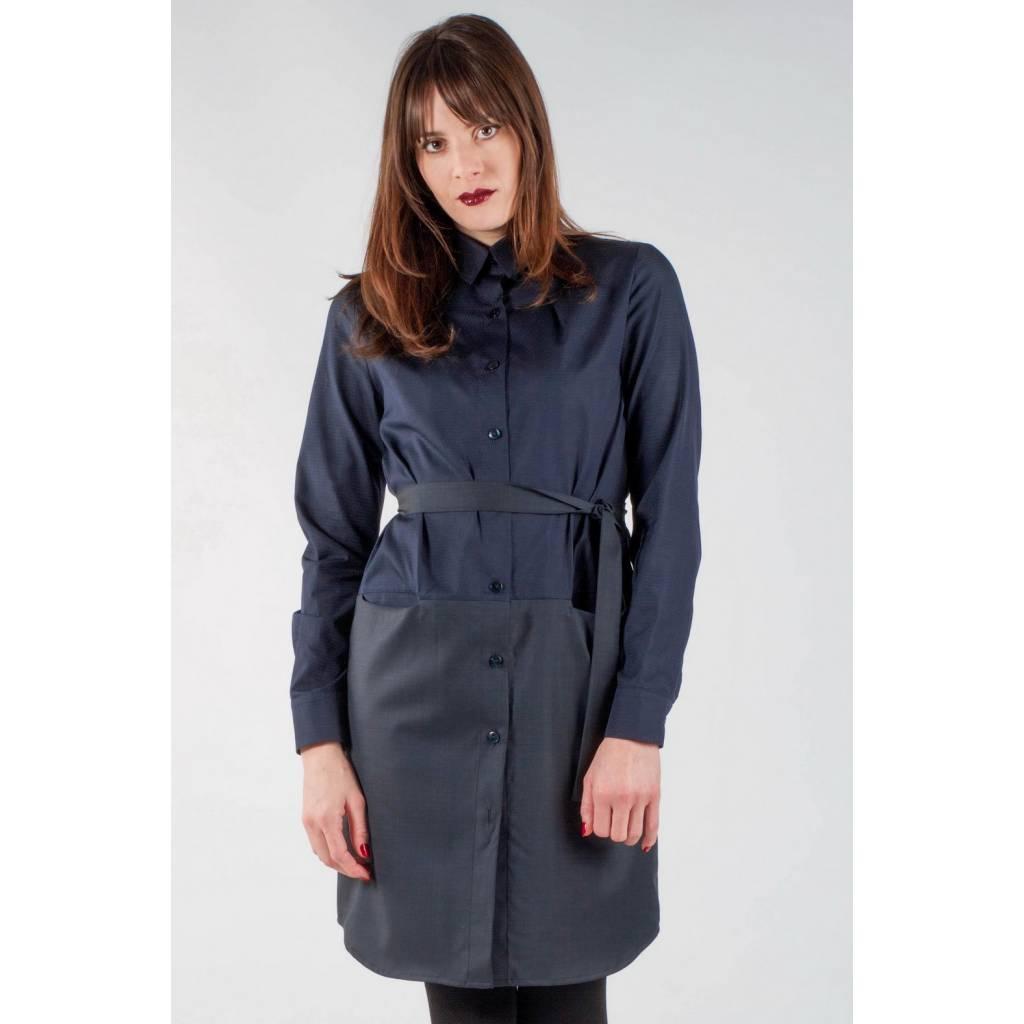 madeva paris robe chemise maxime bleu marine cr ateur de mode en s rie tr s limit e. Black Bedroom Furniture Sets. Home Design Ideas