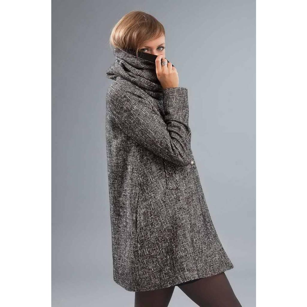 Manteau en laine femme gros col