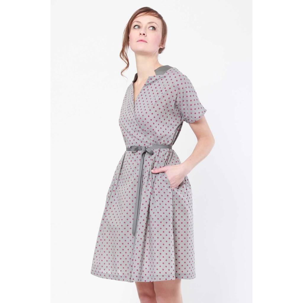 madeva paris robe reiko gris pois mauve cr ateur de mode s rie tr s limit e. Black Bedroom Furniture Sets. Home Design Ideas